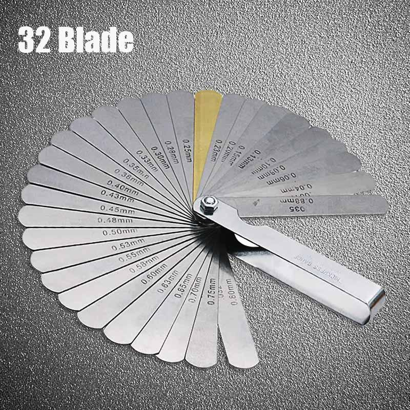 ZHUANGQIAO 32 Blades Feeler Gauge Metric Gap Filler 0.04-0.88mm Thickness Gage Tool For Motorcycle Valve Measurement