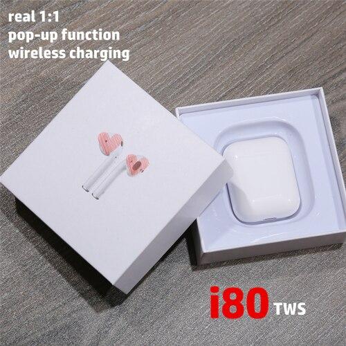 I80 TWS Air 2 Bluetooth écouteurs sans fil casque W1 puce Pop Up écouteurs 1:1 taille casque pour iPhone pk i10 i30 i60 tws