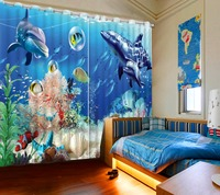 Beautiful Photo Custom any size curtains bedroom blackout curtains ocean dolphin custom photo bedding