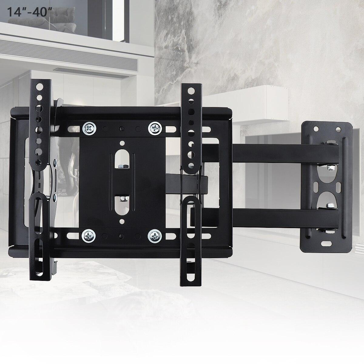 25 KG Support de montage mural TV réglable Support de cadre TV à écran plat inclinaison à 15 ° avec gradient pour moniteur LED LCD 14-40 pouces