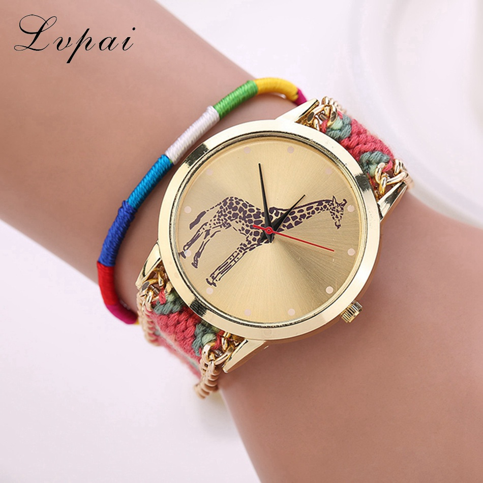 Lvpai Brand Fashion Casual Women Dress Watches Handmade Braided Gold Wristwatch Giraffe Luxury Sport Chinese Style Quartz Watch