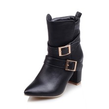Big size 32-45 Autumn winter style ankle women woman ankle boots pointed toe high heels short boots Wholesale and retail 9-5