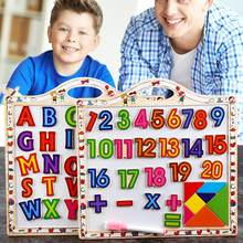 Wooden Magnetic Board Erasable Writing Pad Drawing Board Educational Toys Digital Letters Number Children Puzzle Early Learning(China)