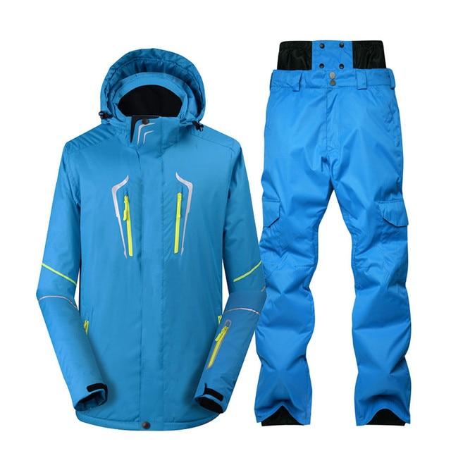 f34d5d39076d3 Plus size Jacket and pant Men Snow Suit outdoor sports special Snowboarding  wear windproof waterproof Ski suit sets blue color
