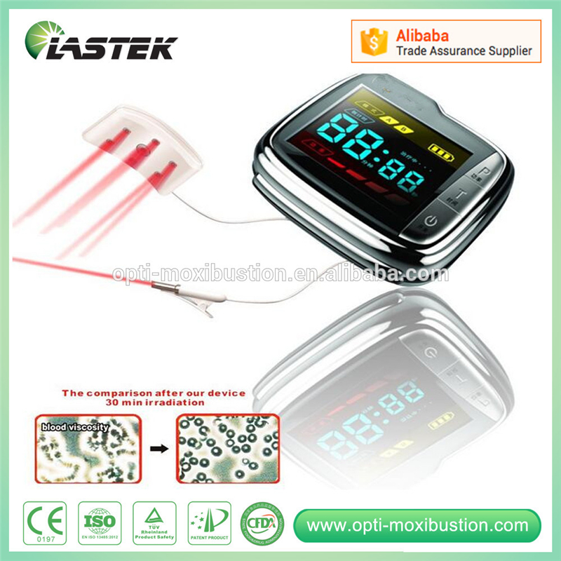 Medical low level laser therapy hypertension diabetes treatment wrist type watch ...