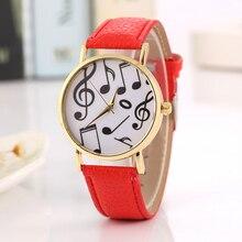 Popular Trend Clock Leather Wrist Watches Musical Note Retro Gold Case Dress Quartz Watch Women Montre Femme