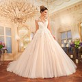 2017 Gorgeous Princess Champagne Tulle Wedding Dresses O Neck Cap Sleeve With Appliques Vestido De Noiva Ball Gown Bride Dresses