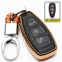 For Ford Fiesta Focus 3 4 MK3 MK4 Mondeo Ecosport Kuga ST RS C-MAX B-MAX Hatch Silica Gel TPU Car Key Cover Case Woven Keychain(China)