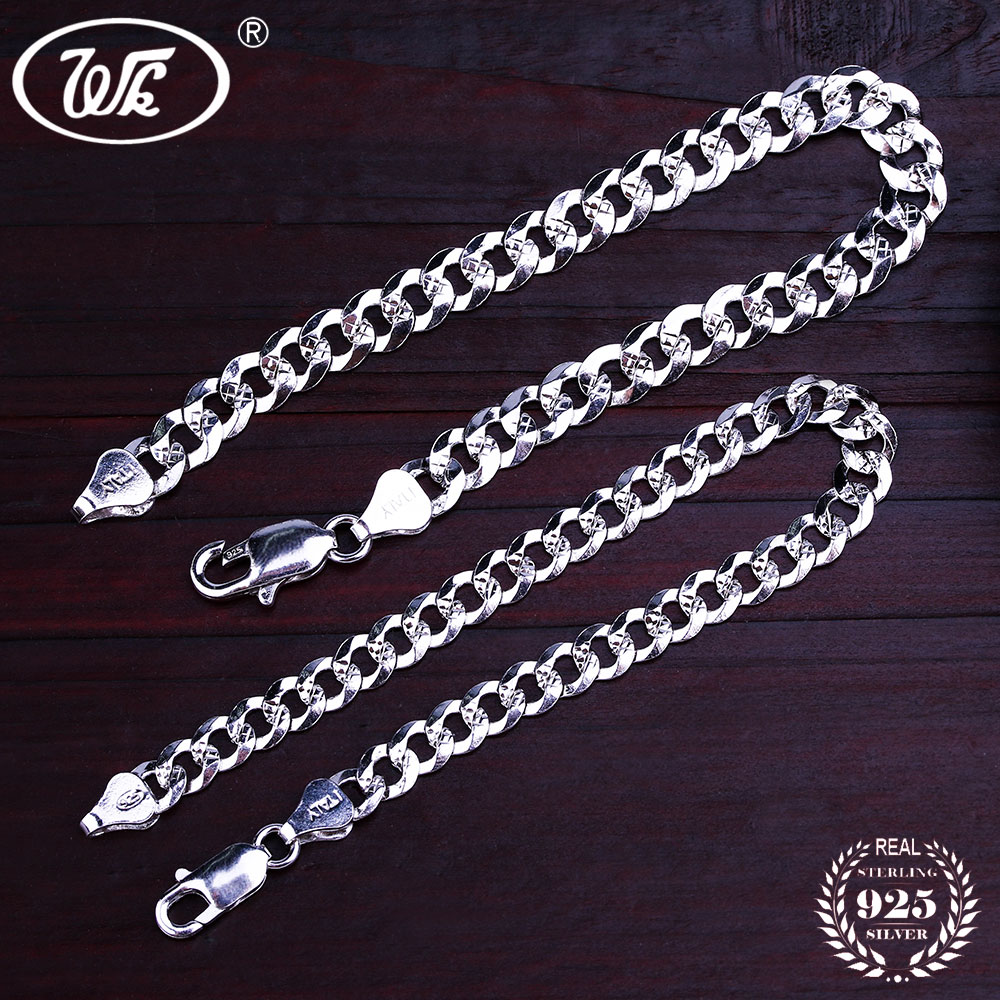 WK Flat 6MM 7MM Genuine 925 Sterling Silver Chain Link - Նուրբ զարդեր - Լուսանկար 4