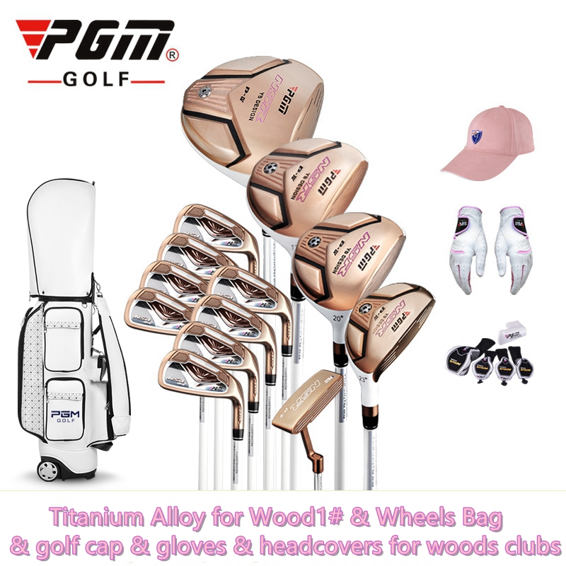 brand PGM Collections. 13 pics women golf clubs Titanium Alloy for Rod of Driver, Luxury women golf complete set carbon shaft free shipping pgm mens golf clubs complete set of graphite shaft with standard bag titanium alloy for rod