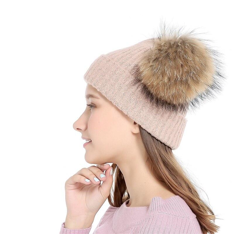 Lanxxy Real Mink Fur Pompom Cap Կանանց ձմեռային - Հագուստի պարագաներ - Լուսանկար 2