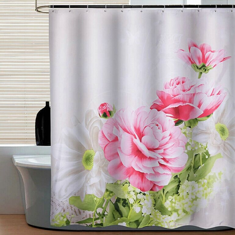 2017 New Eco-friendly 3d shower curtain rings rod for bathrom red Peony flower fireproof shower curtain for bathroom