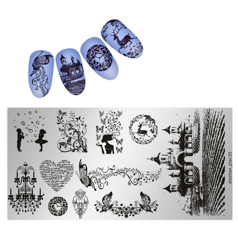 Dieshan Premium 1PC Nail Stamping Plates Lace Flower Animal  Art Stamp Template Image Plate Stencil Nails Tool 3D