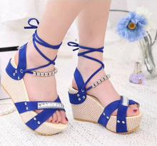 Summer Women'S American Fish Head Front & Rear Strap Beading  Sequined Sandals Black/Blue/Rose Red Casual Wedges Sandalias S2546