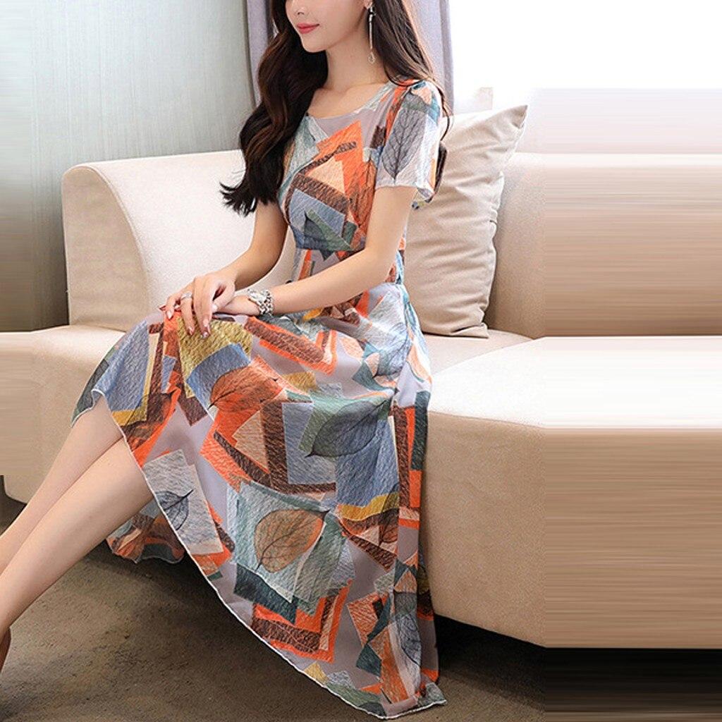 Fashion women s summer dress print irregular hem short sleeved O neck and knee long A