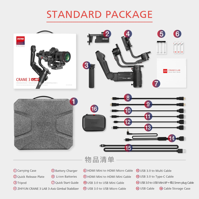 DHL Zhiyun Crane 3 LAB 3-axis Handheld Gimbal DSLR Camera stabilizer for Sony A7M3 A7R3 Canon 6D 5D Panasonic GH4 GH5 Nikon D850 9