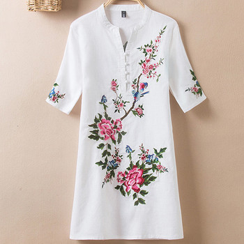 new womens tops and blouses women s floral print camisas mujer v neck short flare sleeve ruffles cold shoulder chiffon blouse Summer Womens Tops and blouses  2019 Embroidery Vintage Print Floral Linen Blouses Short Sleeve V-Neck Shirt Blouse Plus size