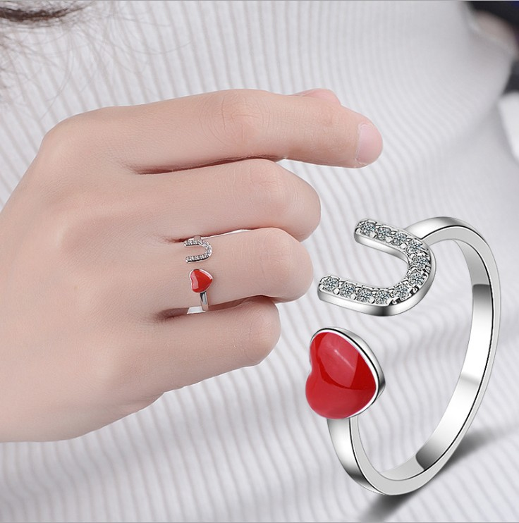 2020 Sale Fashion Jewelry 925 Silver Crystal From Swarovskis Simple Wild Small Love Opening Ring Women And Female As Gift