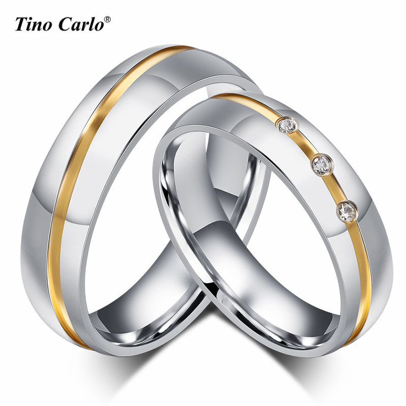 1 Piece Wedding Rings 6MM High polished 316l Stainless Steel Lover Rings Golden Love Line Ring Jewelry For him/her SFC056