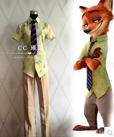 Zootopia Nick Wilde Fox Cosplay Costume Uniform Outfit Suit Halloween Party Clothing with tie