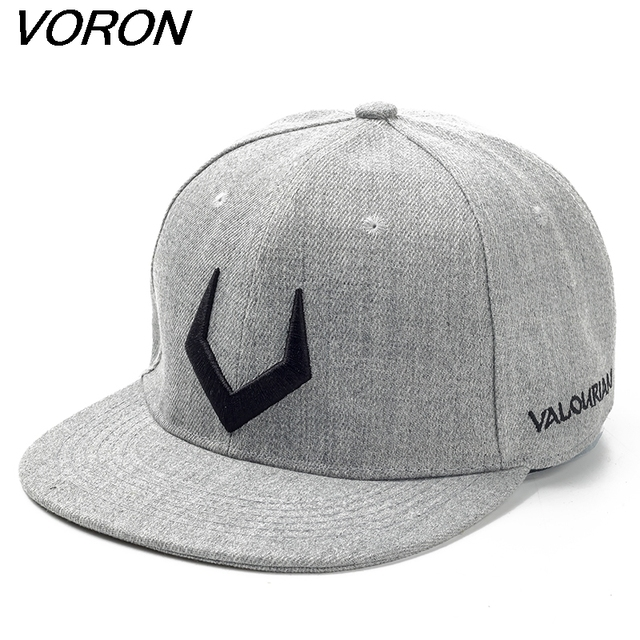 480ce3ac23a VORON High quality grey wool snapback 3D pierced embroidery hip hop cap  flat bill baseball cap for men and women
