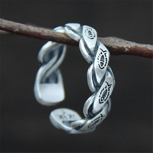 New Fashion Vintage 990 Sterling Silver Fish Carved Twisted Open Rings for Women Cool Summer Jewelry sterling-silver-jewelry