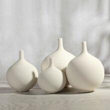 white spherical ceramic creative contracted flower vase pot home decor craft room decoration handicraft porcelain figurine