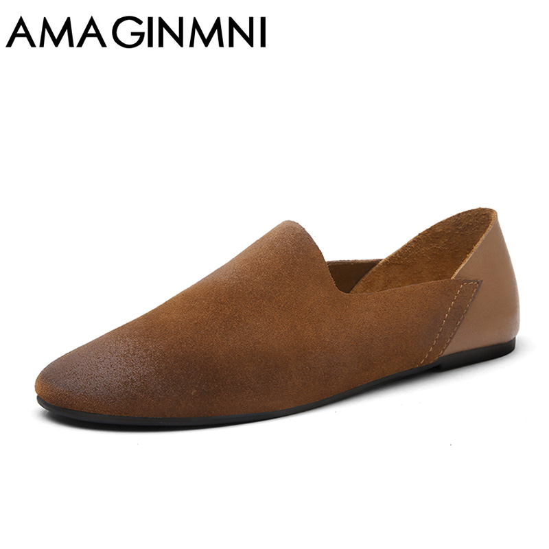 AMAGINMNI Fashion Design Slip On Loafer Shoes Men Black Round Toe Brush Leisure Shoes Man Suede Leather Shoes Casual men shoes sinoextreme italian leather handmade crocodile embossed men loafer shoes leisure shoes slip on shoe luxury breathable men shoes