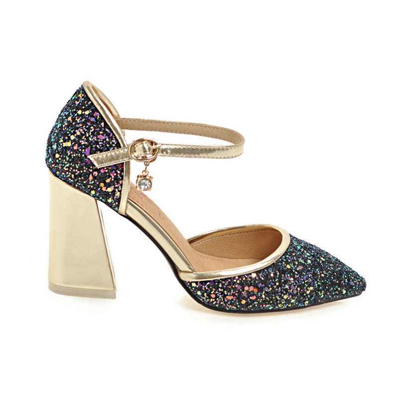 RIBETRINI Brand New Plus Size 32-46 Sequined Shoes Woman Sandals Sexy High Heels Party ankle-strap Women Shoes