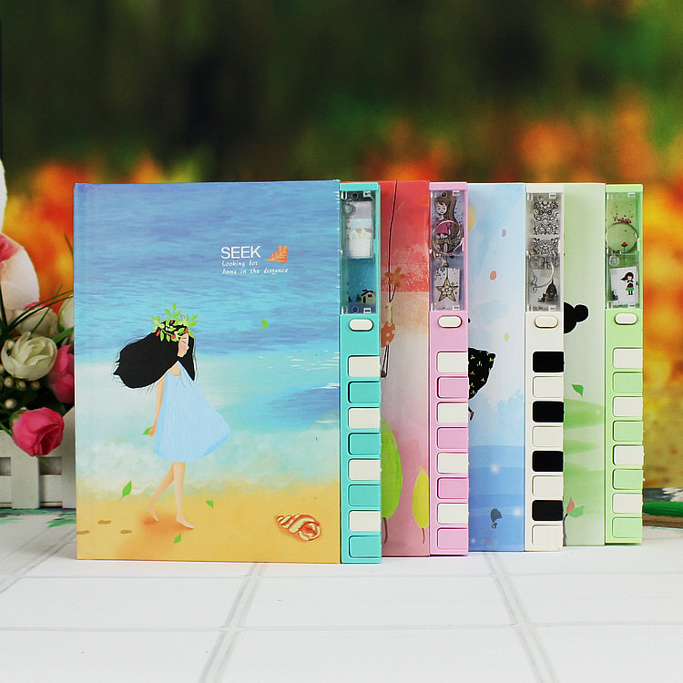 Mercii Notebook Korea Stationery 32K Cute Girl Fashion The Lock Diary Notepad Kawaii Children Notebooks and Journals creative pure and fresh japanese style notepad 32k blank notebook hand diary south korea