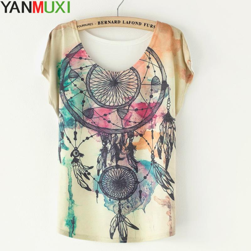 2017 Summer Style Short Batwing Sleeve Blusa Casual Loose Dreamcatcher Print T-shirts For Women Streetwear O Neck Female T Shirt