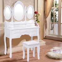 Girl Bedroom Furniture Black / White Dresser Makeup Dressing Vanity Table Desk With Tri Folding Mirror + 7 Drawers HW52947
