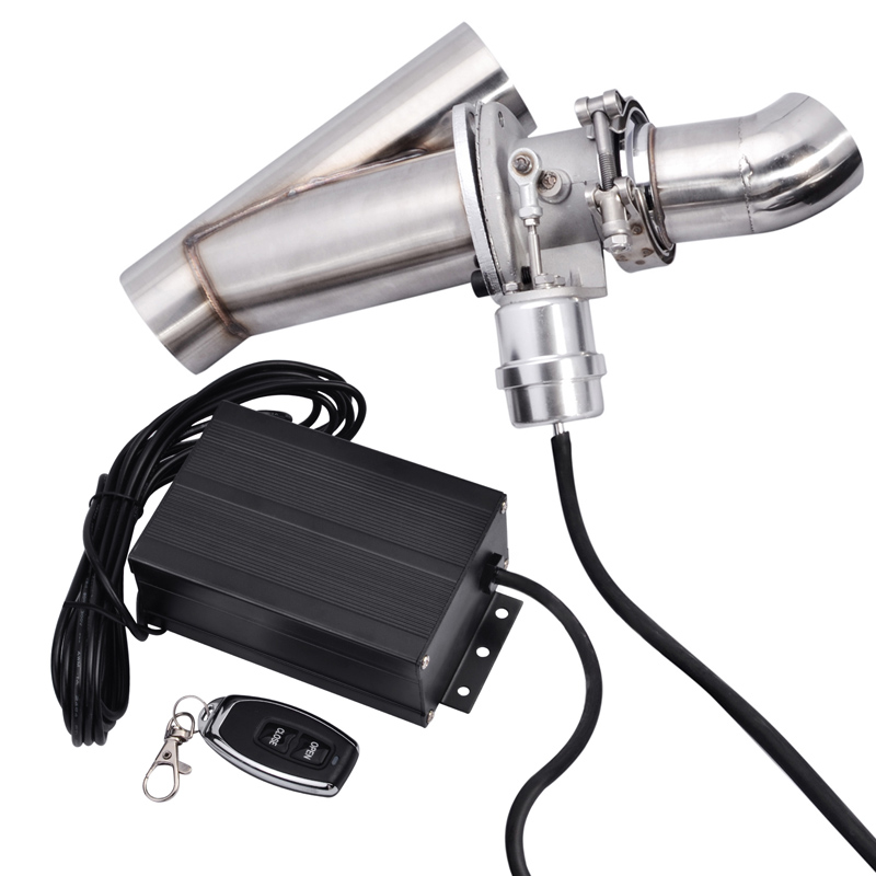 ESPEEDER 3.0 Electric Remote Exhaust Cutout Stainless Steel Header Y Pipe Catback Vacuum Valve Cut Out Exhaust Tip Muffler Kit