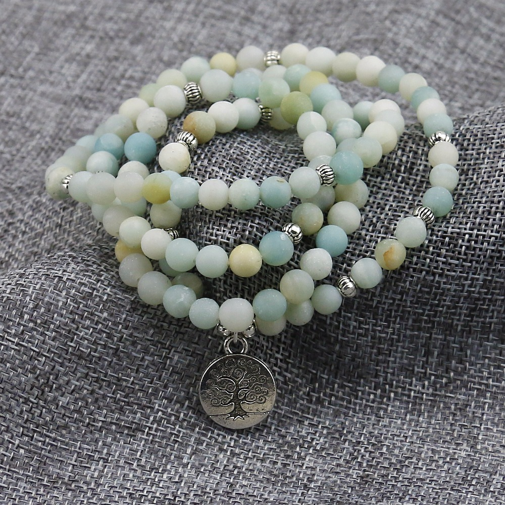 6mm Frosted Amazonite Mala 3