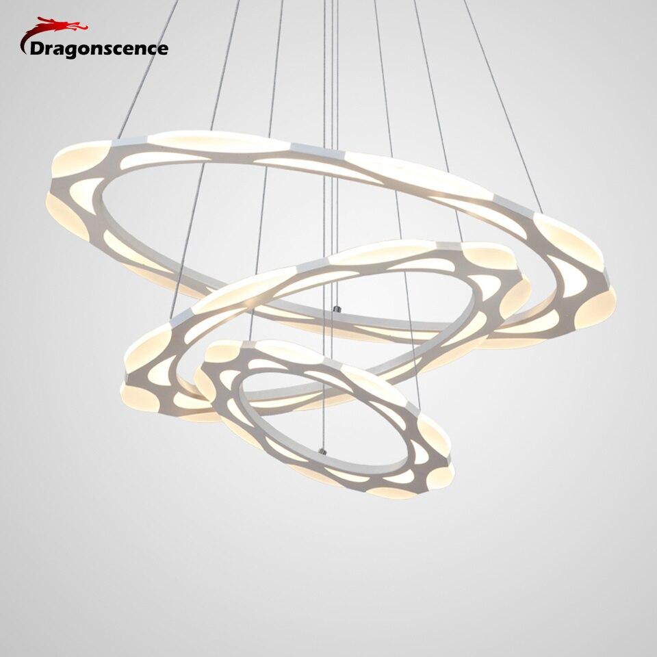 Ceiling Lights & Fans Dragonscence Modern Chandelier Led Lighting Remote Circle Chandelier Lamp For Living Room Business Salon Dining Office