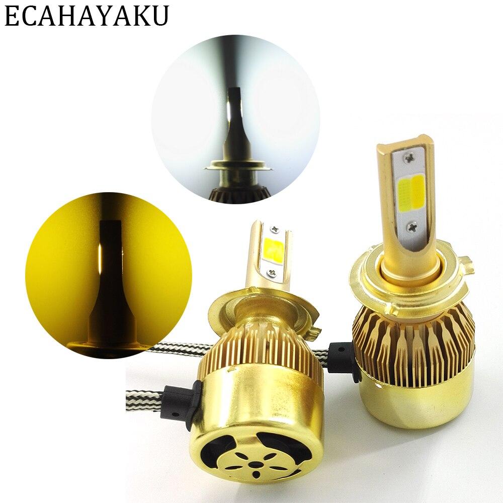 ECAHAYAKU 2Pcs H1 H4 H7 H11 9005 9006 Car LED Headlight Lamp Double Color 72W 7600LM Per Set Headlamp replace Fog Light bulb