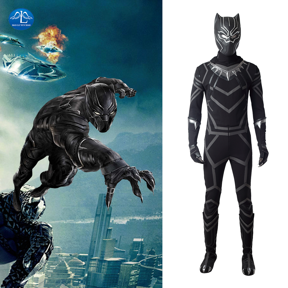 MANLUYUNXIAO Black Panther Cosplay Halloween Costume For Men Wakanda Superhero TChalla Outfit Custom Made Leather Jumpsuit