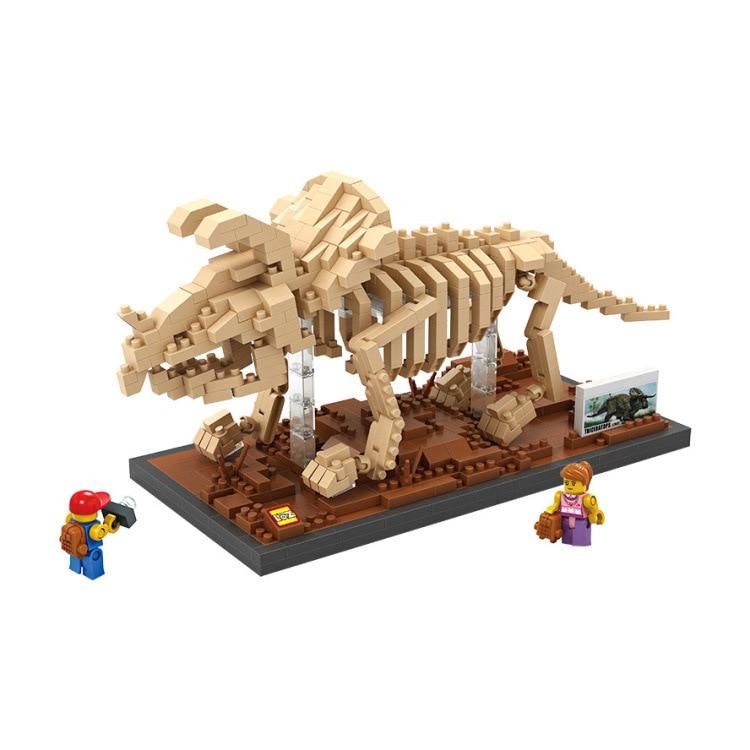 Mini Jurassic World Park Fossil Triceratops Raptor Skeleton Building Blocks Sets Bricks Kids Model Kids Creator Toys Marvel City 740pcs loz diamond building blocks jurassic world mosasaurus fossil model nano bricks diy assemble toys children education toys