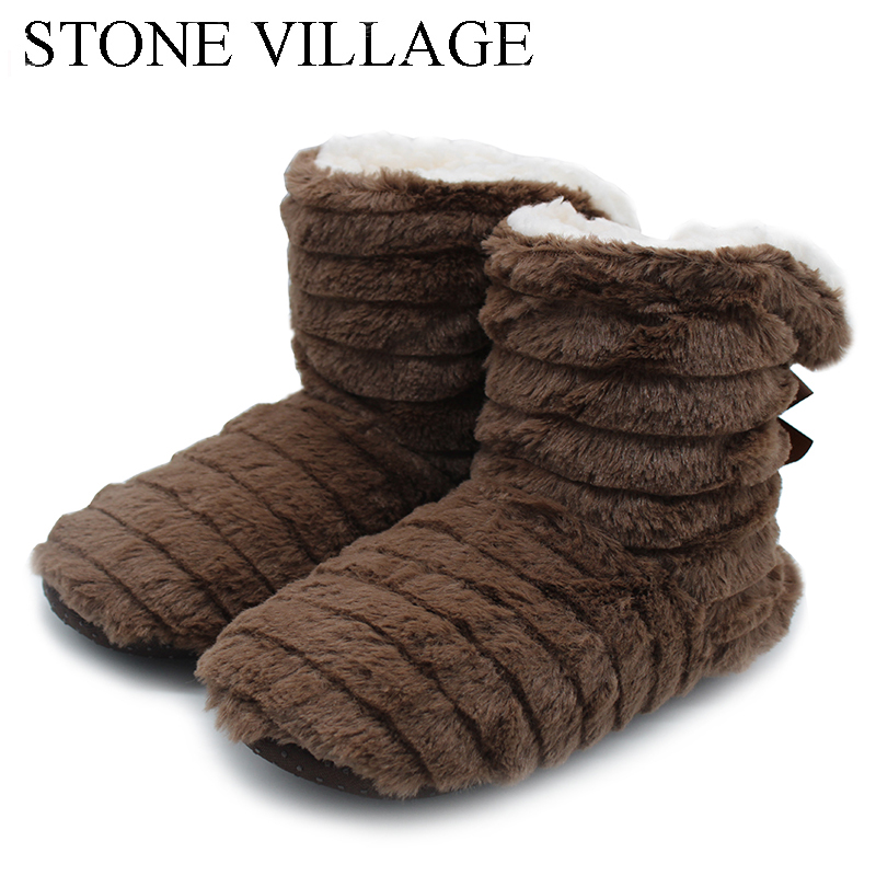 STONE VILLAGE Superior Quality Cute Bow Home Slippers 2018 New Korea Style Print Plush Warm Winter Women Slippers Woman shoes 1