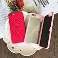 Ranura para tarjeta de lujo caliente de la manera señora compone el espejo para iphone 5 5s sí 6 6 s 6 plus 6 cubierta splus 7 7 más funda para samsung s6 s7