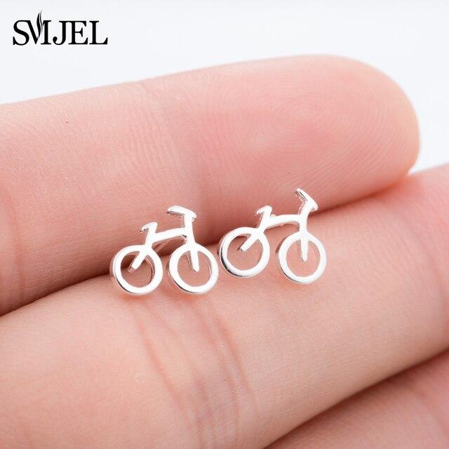 SMJEL Mode Silber Farbe Nette Kleine Fahrrad Ohrstecker Für Frauen ...