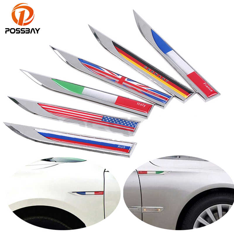 POSSBAY Car Side Fender Knife Stickers Germany Italy England France US Swedish Canada Flag Metal Emblem Badge Decals