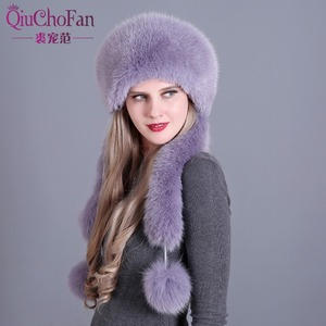 Image 5 - Womens Winter Hats Genuine Fox Fur & Rabbit Fur Hat with 2 Pompons Whole Fox Tail Russian Winter Outside Warm Mongolian Caps