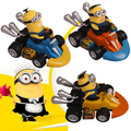New 3pcs/set stuart dave kevin pull back car kart racing funny figures despicable me 3 minions toy dolls juguetes free shipping