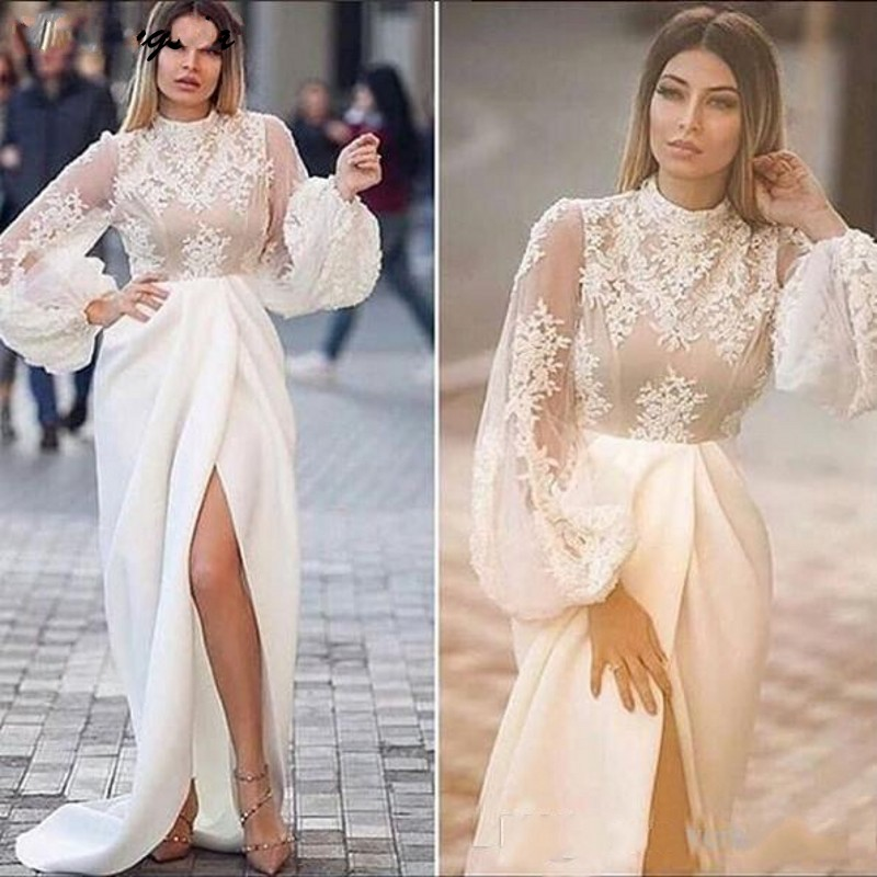 Cinderella High Neck Long Sleeeves Side Slit Lace Applique Evening Dresses Mate Silk Satin A Line