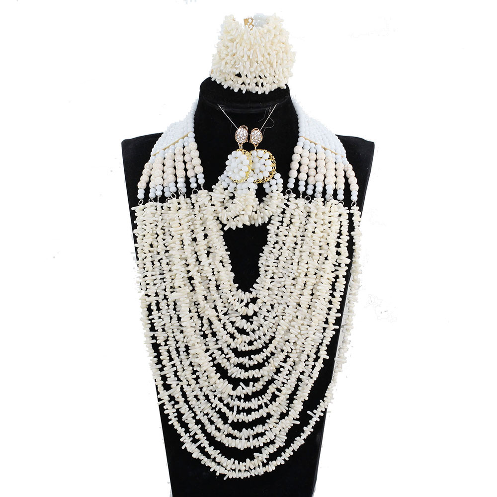 Luxury 14 Layers Full Beads Bib Coral Necklace Jewelry Set Nigerian Wedding Beads Jewellery Set New Free Shipping CN096Luxury 14 Layers Full Beads Bib Coral Necklace Jewelry Set Nigerian Wedding Beads Jewellery Set New Free Shipping CN096