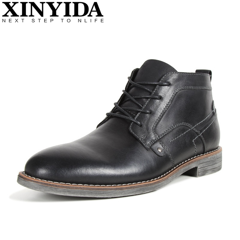 New Vintage Genuine Leather Martin Boots Fashion Men Boots Men's Lace-up High Top Motorcycle Boots Ankle Botas Plus Size 40-45