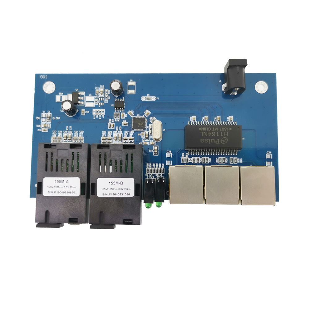 6 PCS/lot 10/100M Ethernet Switch 2 Fiber Port SC  25KM 2 UTP RJ45 Fast Erhetnet Fiber Optical Switch PCBA Board