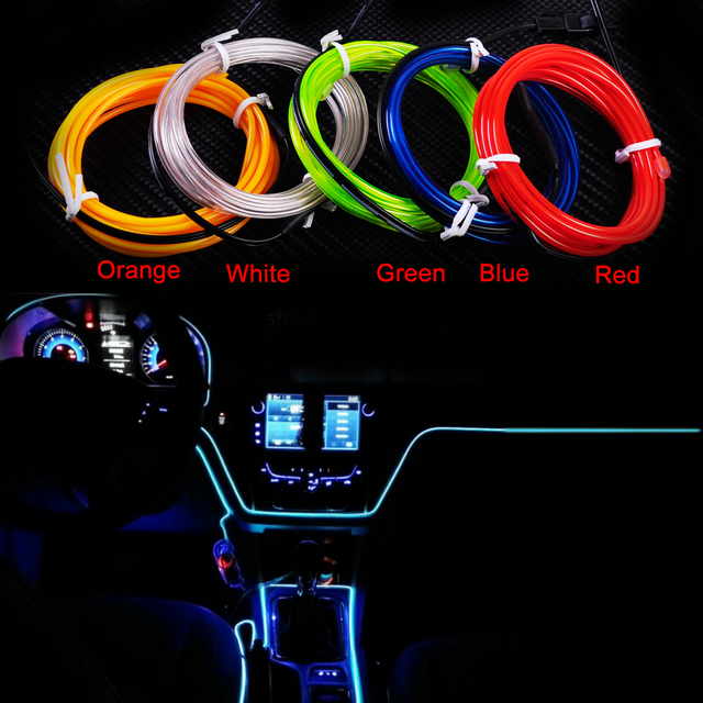 CITALL 2M Car Interior Decor EL Wire Flexible Neon Strip Cold Light ...