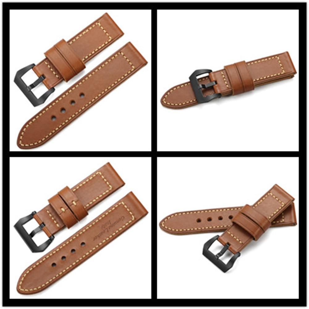CHIMAERA 24mm Watch Band Genuine Leather Waterproof  Durable Watch Belt Strap For 24 Mm Bracelet For Men Brown